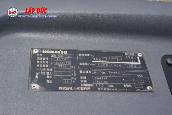 Xe nâng điện cũ KOMATSU đứng lái 1.5 tấn FB15RL# 14 -146097 giá rẻ