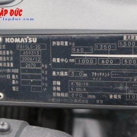 Xe nâng KOMATSU máy xăng 1.5 tấn FG15LC20 # 659313 giá rẻ
