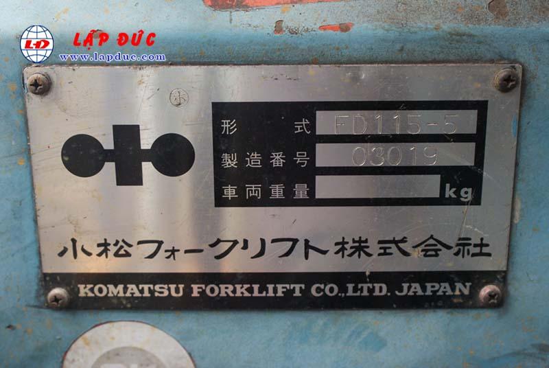 Xe nâng cũ động cơ dầu KOMATSU 11.5 tấn FD115-5 # 03019 giá rẻ
