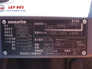Xe nâng KOMATSU máy dầu 3 tấn FD30C-17 # 322470 giá rẻ