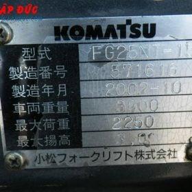 Xe nâng cũ động cơ xăng KOMATSU 2.5 tấn FG25NT-15 giá rẻ