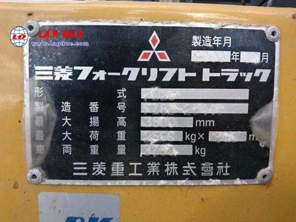 Xe Nâng Dầu 2.5 tấn MITSUBISHI FD25 # 20440