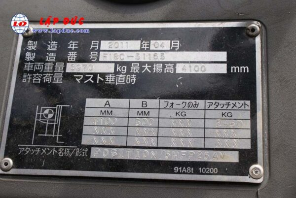 Xe Nâng Dầu 2.5 tấn MITSUBISHI FD25 # 51165
