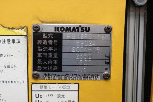 Xe nâng điện đứng lái cũ KOMATSU 1.8 tấn FB18RS-12 giá rẻ