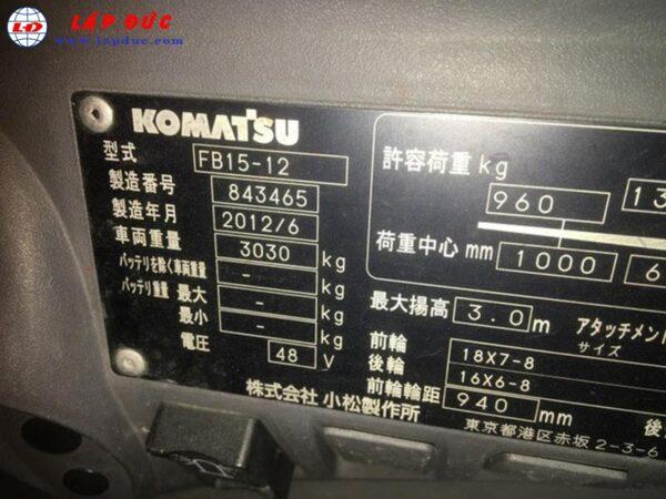 Xe nâng điện ngồi lái 1.5 tấn KOMATSU FB15-12 6