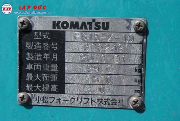 Xe nâng điện KOMATSU 1.5 tấn ngồi lái FB15EX-10 giá rẻ