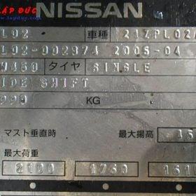 Xe nâng NISSAN máy xăng - gas 2.5 tấn PL02 giá rẻ