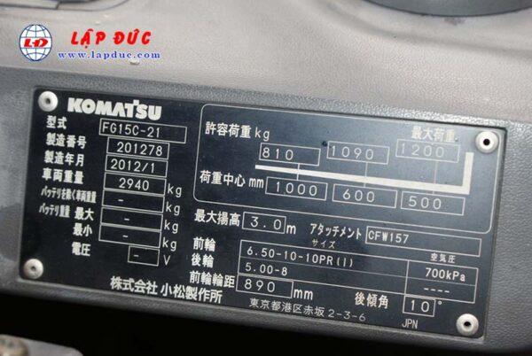 Xe nâng cũ động cơ xăng KOMATSU 1.5 tấn FG15C-21 # 201278 giá rẻ