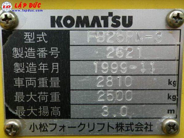 Xe nâng điện đứng lái cũ KOMATSU 2.5 tấn FB25RN-3