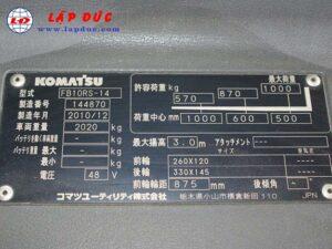 Xe nâng điện KOMATSU đứng lái 1 tấn FB10RL-14 giá rẻ