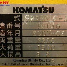 Xe nâng điện KOMATSU 1.5 tấn đứng lái FB15RLF-12