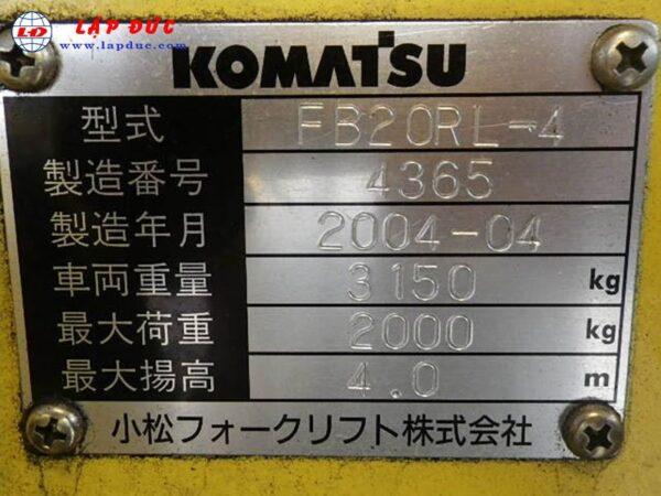 Xe nâng điện KOMATSU 2 tấn đứng lái FB20RL-4