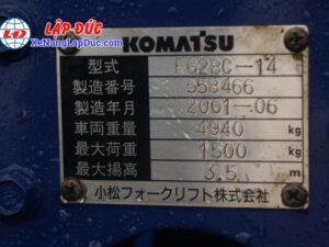 Xe Nâng Xăng 2.8 tấn KOMATSU FG28C-14 # 558466 21