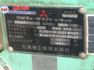 Xe Nâng Máy Dầu 2.5 tấn MITSUBISHI FD25T # 56682 22