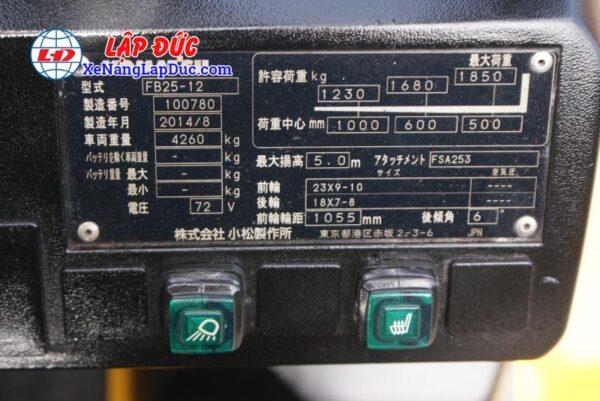 Xe Nâng Điện Ngồi Lái Cũ 2.5 tấn KOMATSU FB25-12 # 100780 10