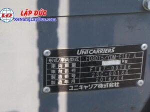 Xe Nâng Dầu 3 tấn UNICARRIERS FD30T5 # 00186 20