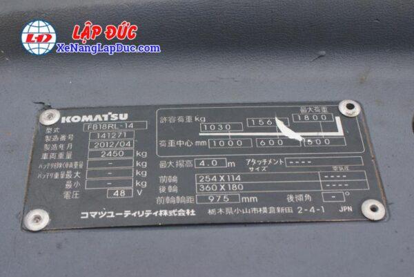 Xe Nâng Điện Đứng KOMATSU FB18RL-14 # 141271 7
