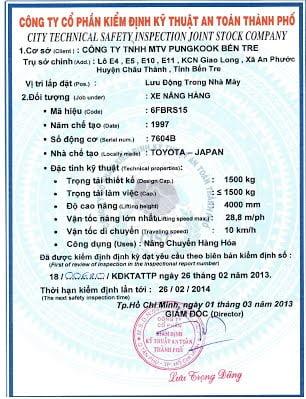Kiểm định xe nâng hạ: Quy định, quy trình kiểm tra và giá kiểm định xe nâng hàng 7