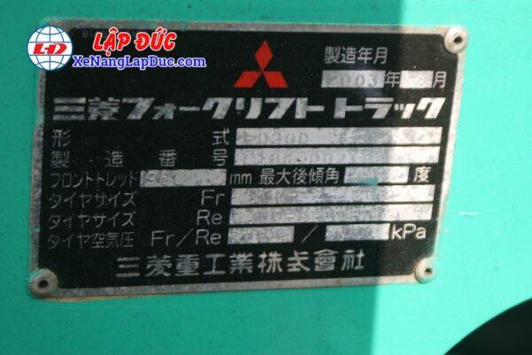 Xe Nâng Dầu 2 Tấn MITSUBISHI FD20D 7